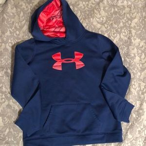 Under armor blue hoodie with pink accents